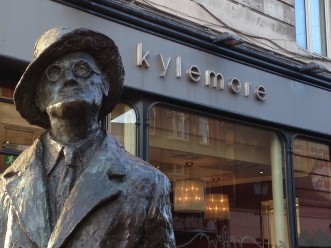 James Joyce, outside Kylemore Cafe