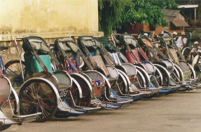 Cyclos lined up in Hanoi