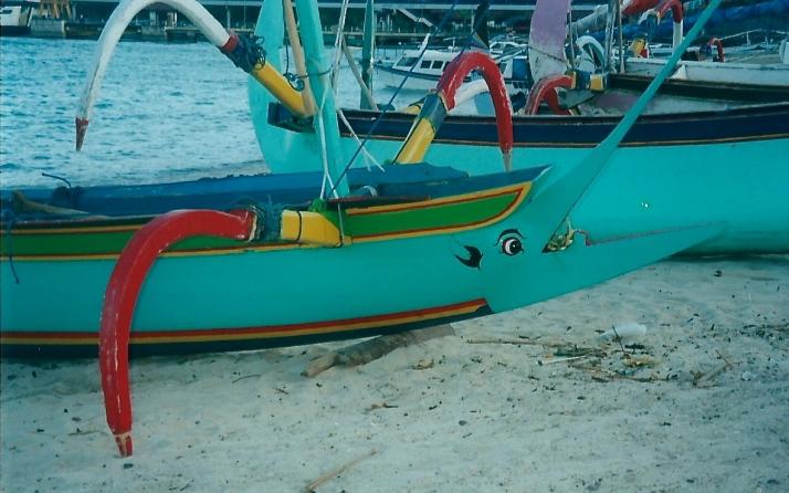 Painted boat at Padang Bai