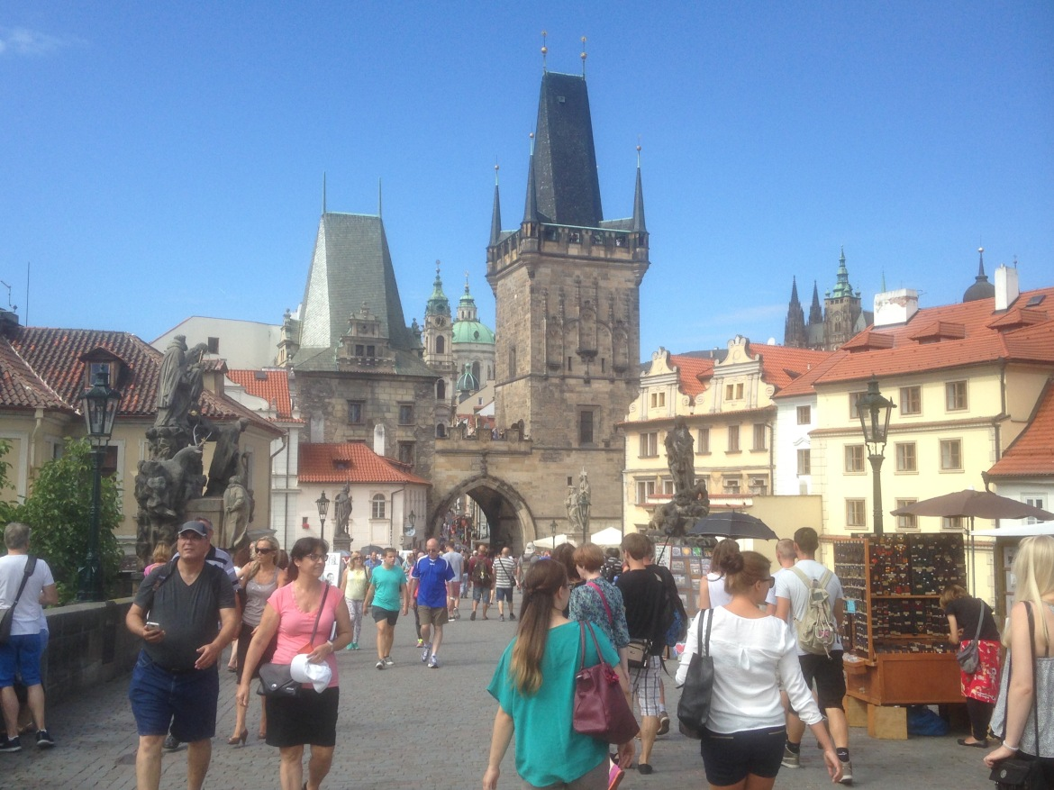 Hanging out on the Charles Bridge, Prague