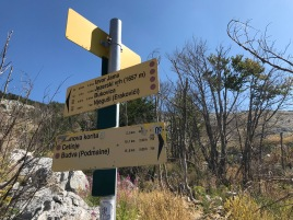 Trail signs Lovcen National Park